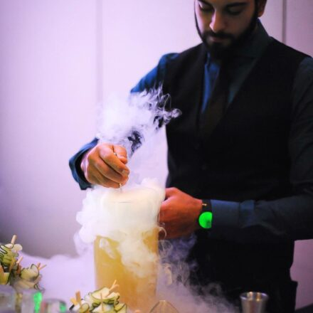 Mixologist making dry ice cocktails