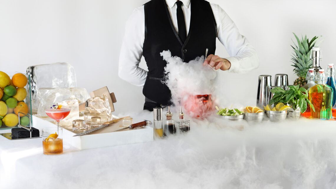 Mixology bar with dry ice